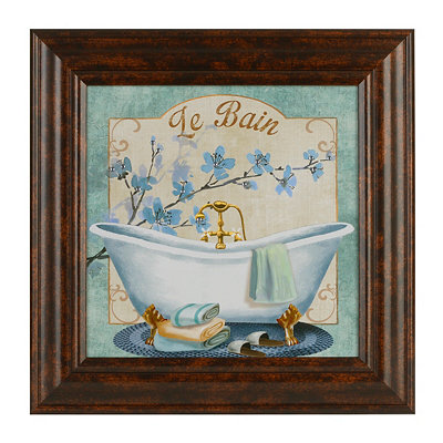 Blue Hisbiscus Le Bain Framed Art Print