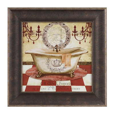 Red French Bath I Framed Art Print