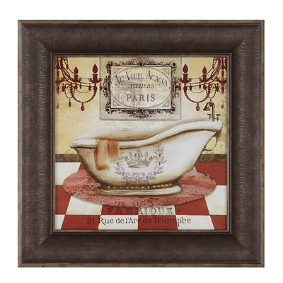 Red French Bath II Framed Art Print