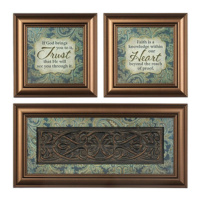 Trust & Faith Sentiment Shadowboxes, Set of 3