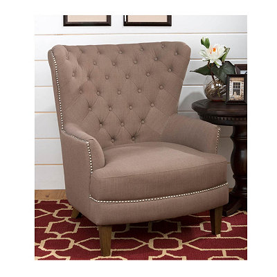 Taupe Tufted Wing Arm Chair