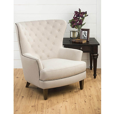Ivory Tufted Wing Arm Chair