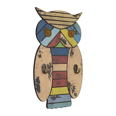 Distressed Light Multicolor Owl Plaque with Hooks