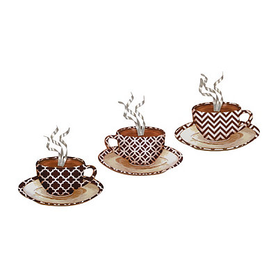 Patterned Coffee Mug Metal Plaques, Set of 3