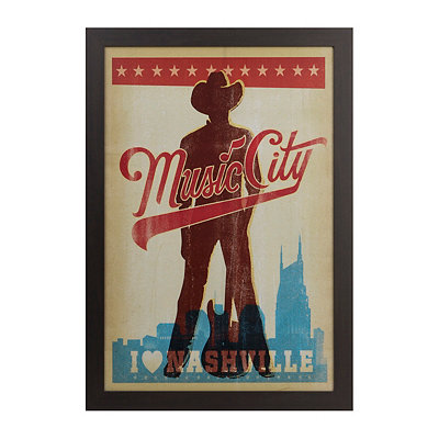 I Heart Music City Framed Art Print