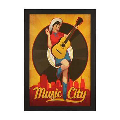 Music City Pin Up Framed Art Print