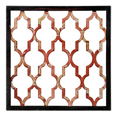 Distressed Red Geometric Metal Plaque