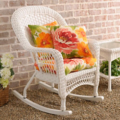Savannah White Wicker Rocker
