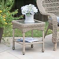 Savannah Driftwood Wicker Side Table