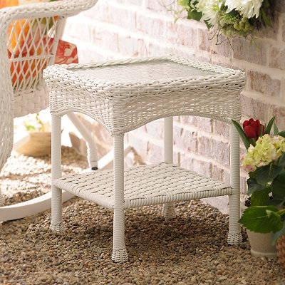 Savannah White Wicker Side Table