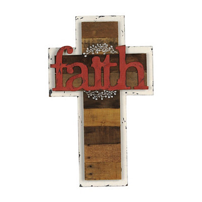 Faith Distressed White Cross Plaque