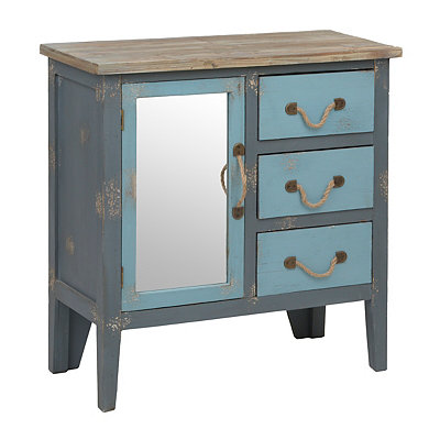 Distressed Two-Tone 3-Drawer Blue Cabinet