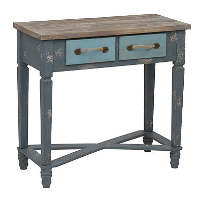 Distressed Two-Tone Blue Console Table