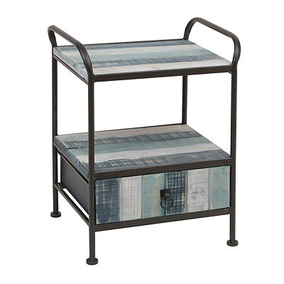 Distressed Blue Stripe Wood & Metal Side Table