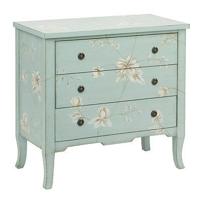 Light Blue Wildflower 3-Drawer Chest