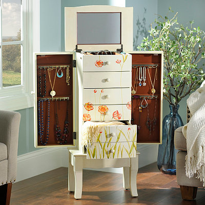 White Wildflower Jewelry Chest