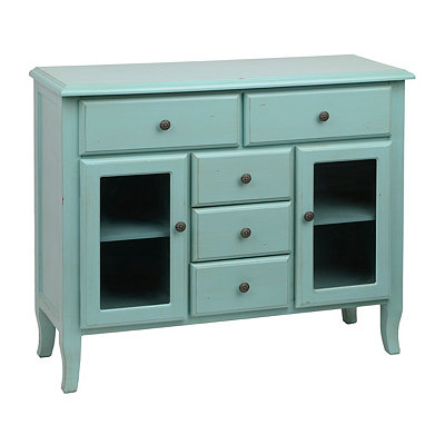 Turquoise Glass Panel Sideboard