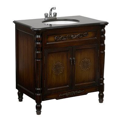 Antique Brown Carved Vanity Sink, 20.5in.