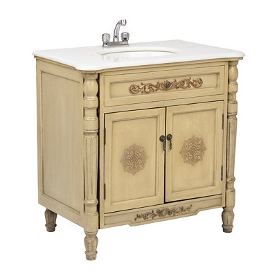 Antique Ivory Carved Vanity Sink, 20.5in.