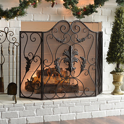 Bronze Leaf Fireplace Screen