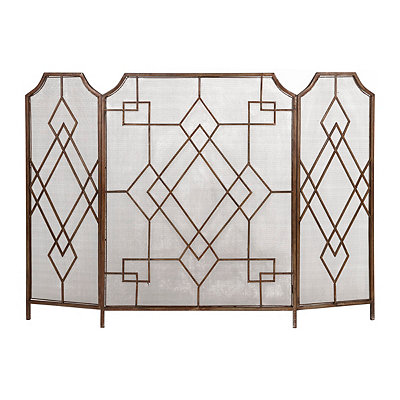 Gold Geometric Fireplace Screen
