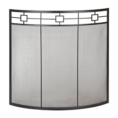 Curved Black Fireplace Screen