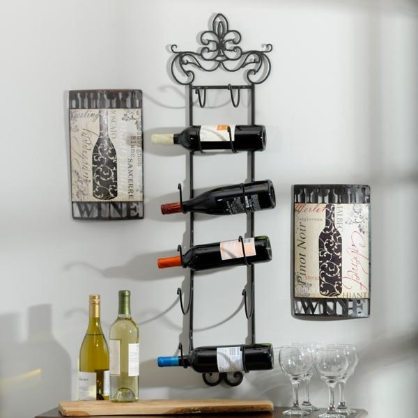 Metal Fleur De Lis Towel Wine Rack