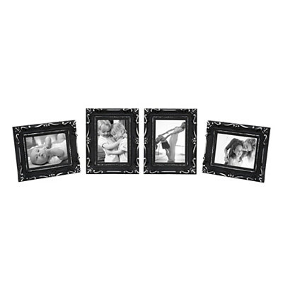Black & Silver Scroll 5x7 Picture Frames, Set of 4