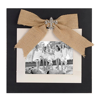 Black Jeweled Burlap Bow Picture Frame, 5x7