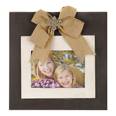 Brown Jeweled Burlap Bow Picture Frame, 5x7