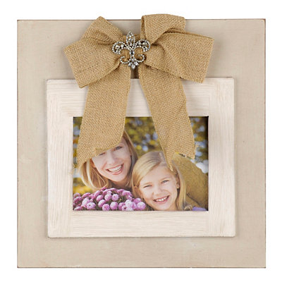 Cream Jeweled Burlap Bow Picture Frame, 5x7