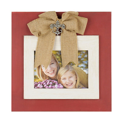 Red Jeweled Burlap Bow Picture Frame, 5x7