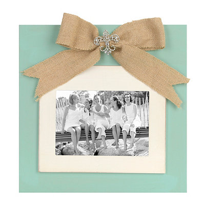 Turquoise Jeweled Burlap Bow Picture Frame, 5x7