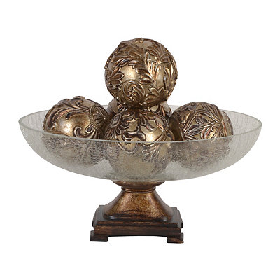 Champagne Fleur-de-lis Orb and Bowl Set, 6-pc.