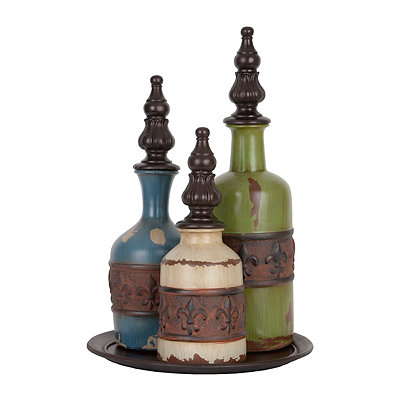 Distressed Fleur-de-lis Bottles, Set of 3