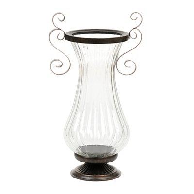 Grecian Glass Fluted Floor Vase