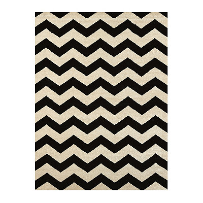 Black Harper Chevron Area Rug, 8x11