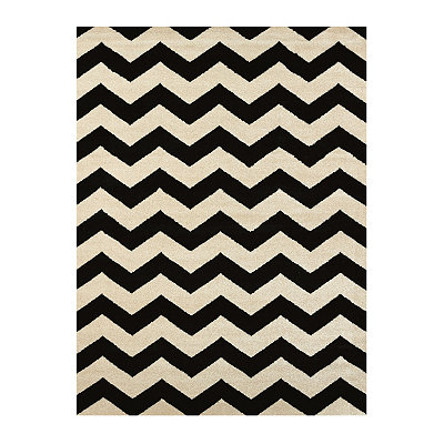 Black Harper Chevron Area Rug, 5x7