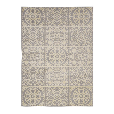 Gray Harper Patchwork Area Rug, 5x7
