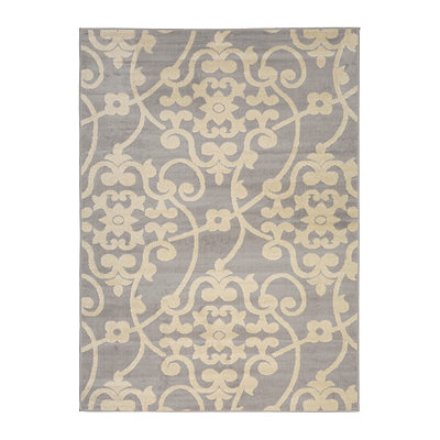 Gray Harper Scroll Area Rug, 5x7