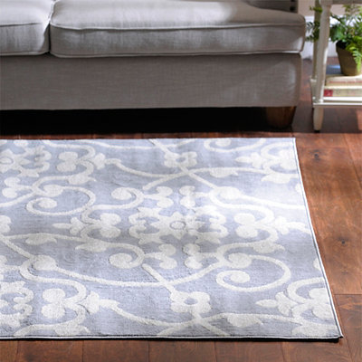 Gray Harper Scroll Area Rug, 8x11