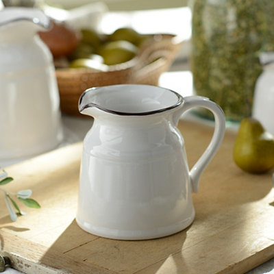 Turino White Ceramic Pitcher, 34 oz.