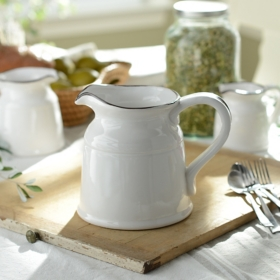 Turino White Ceramic Pitcher, 90 oz.