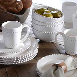 Bianca White Bead Dinnerware Set