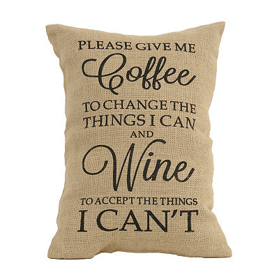 Coffee and Wine Burlap Pillow