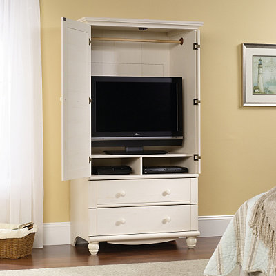 Harbor View Antique White 2-Drawer TV Stand