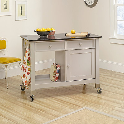 Cobblestone Cottage Gray Kitchen Island Cart