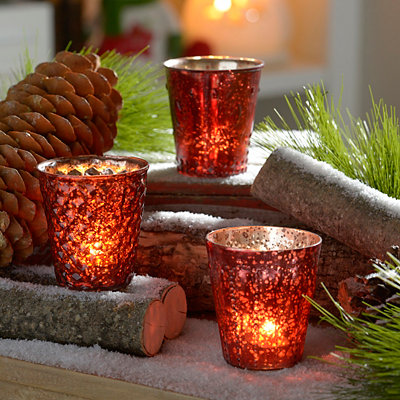 Red Mercury Glass Votive Holders, Set of 3
