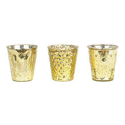 Gold Mercury Glass Votive Holders, Set of 3