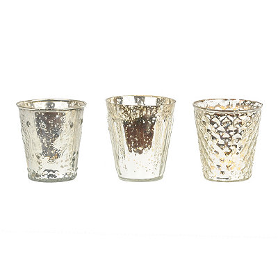 Silver Mercury Glass Votive Holders, Set of 3